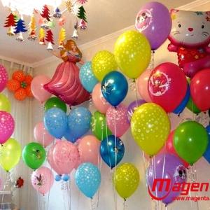 Фото № 18.е / Вариант оформления детского дня рождения цену уточняйте, латексные шары + фольгированные  /  Цвета в ассортименте .