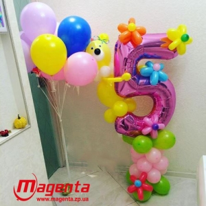 Композиция из шаров / № 5.4 /  Цена - 410 грн / Высота 100 см./Цифры от 1 до 100 / Цвета в ассортименте