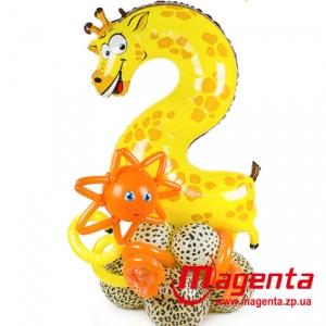 Композиция из шаров / № 2.4 / Цена - 290 грн / Высота 100 см / Цифры от 1 до 9 / Цвета в ассортименте /