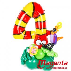 Композиция из шаров / № 4.3 /  Цена - 290 грн / Высота 100 см. /Цифры от 1 до 9 / Цвета в ассортименте