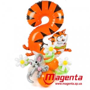 Композиция из шаров / № 8.2 /  Цена - 290 грн / Высота 100 см. /Цифры от 1 до 9 / Цвета в ассортименте