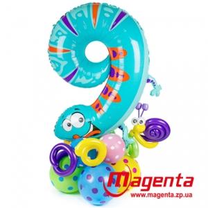 Композиция из шаров / № 9.1 /  Цена - 290 грн / Высота 100 см. /Цифры от 1 до 9 / Цвета в ассортименте