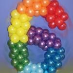 Композиция из шаров / № 6.2 / Цена - 150 грн / Высота 100 см / Цифры от 1 до 100 / Цвета в ассортименте /
