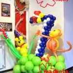 Композиция из шаров / № 7.1 /  Цена - 490 грн / Высота 130 см./Цифры от 1 до 100 / Цвета в ассортименте