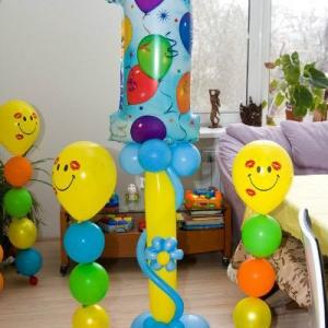 Композиция из шаров / № 1.11 / Цена - 460 грн / Высота 100 см / Цифры от 1 до 9 / Цвета в ассортименте /