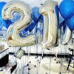 Композиция из шаров / № 21.2 /  Цена - 990 грн / Высота 100 см./Цифры от 1 до 100 / Цвета в ассортименте