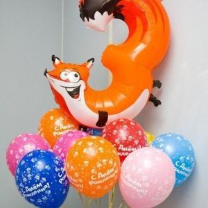 Композиция из шаров / № 3.3 / Цена - 460 грн / Высота 100 см / Цифры от 1 до 9 / Цвета в ассортименте /