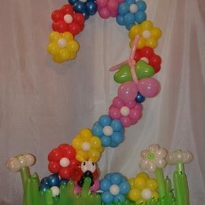 Композиция из шаров / № 2.2 /  Цена - 270 грн / Высота 100 см./Цифры от 1 до 100 / Цвета в ассортименте