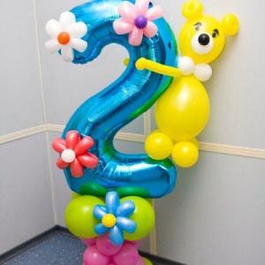 Композиция из шаров / № 2.6 /  Цена - 290 грн / Высота 140 см./ Цифры от 1 до 100 / Цвета в ассортименте